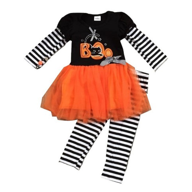 Black & White Striped BOO Tutu Outfit