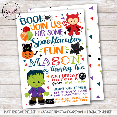 Halloween Fun Boy Birthday Party Invitation