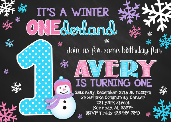 Snowman Winter Onederland Girl Birthday Party Invitation
