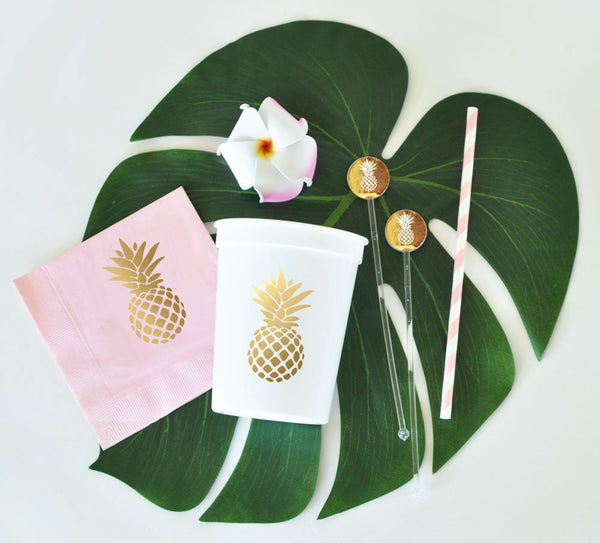 Metallic Gold Pineapple Napkins (Set of 25)