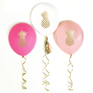 Metallic Gold Pineapple Balloons (Set of 3)