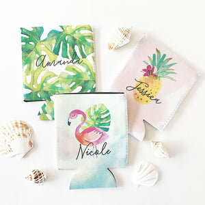 Tropical Beach Can Coolers (Set of 4)