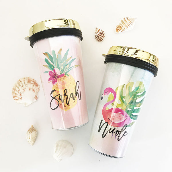 Tropical Beach Travel Tumbler