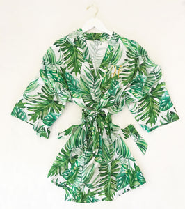 Monogram Palm Leaf Cotton Robe