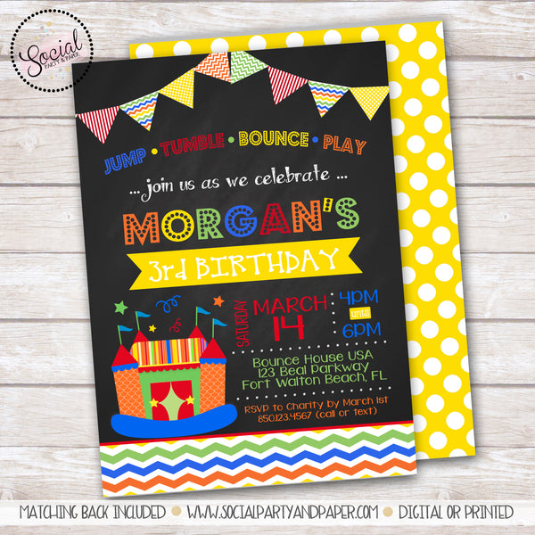 Chalkboard Bounce Birthday Party Invitation