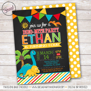 Chalkboard Dinosaur Birthday Party Invitation