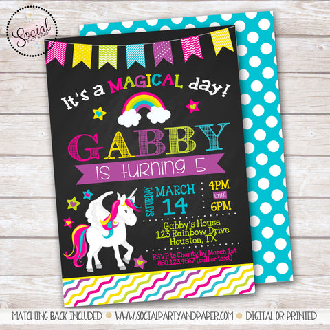 Chalkboard Unicorn Birthday Party Invitation