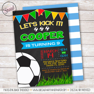 Chalkboard Soccer Birthday Party Invitation