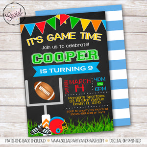 Chalkboard Football Birthday Party Invitation