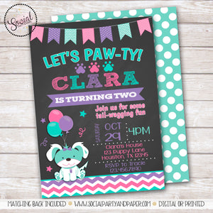 Chalkboard Puppy Birthday Party Invitation