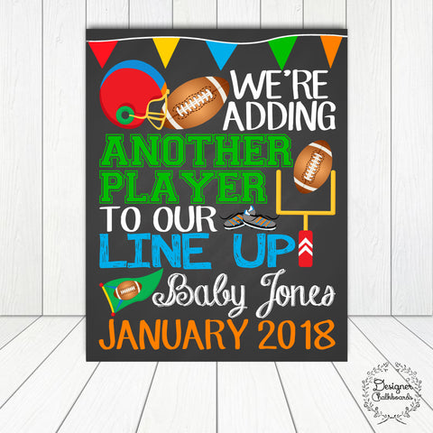 Football Pregnancy Announcement Chalkboard Sign
