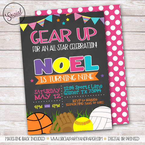 Chalkboard Sports Girl Birthday Party