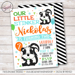 Little Stinker Skunk Birthday Party Invitation