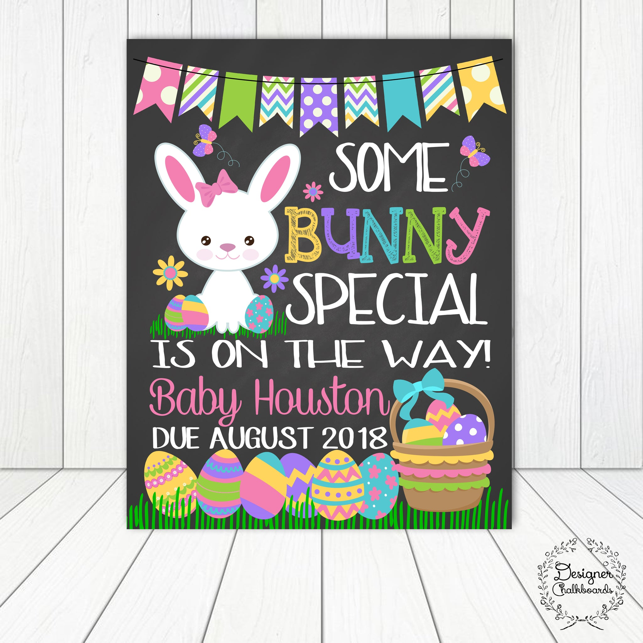 Bunny Pregnancy Announcement Chalkboard Sign