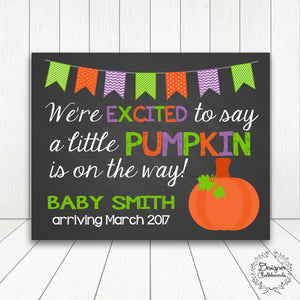 Halloween Pumpkin Pregnancy Announcement Chalkboard Sign