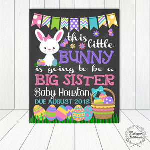 Bunny Big Sister Pregnancy Announcement Chalkboard Sign