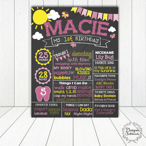 Sunshine Birthday Chalkboard Sign