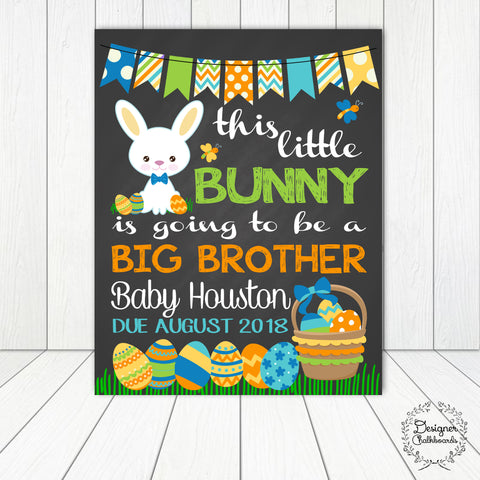 Bunny Big Brother Pregnancy Announcement Chalkboard Sign
