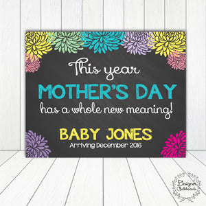 Mother's Day Pregnancy Announcement Chalkboard Sign