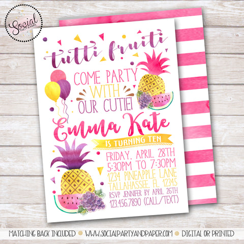 Tutti Fruiti Watercolor Girl Birthday Party Invitation