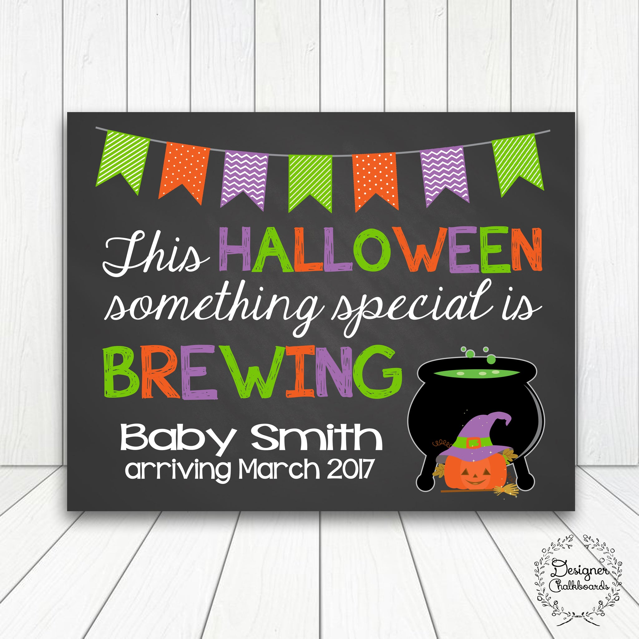 Halloween Pregnancy Announcement Chalkboard Sign