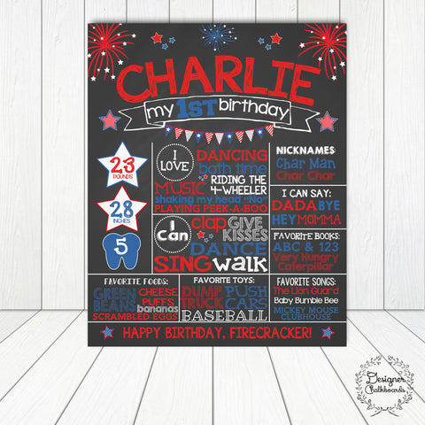 Stars and Stripes Birthday Chalkboard Sign