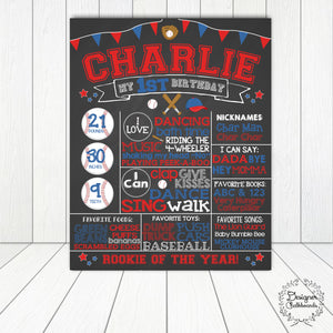 Baseball Birthday Chalkboard Sign