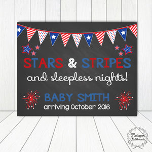 Stars and Stripes Pregnancy Announcement Chalkboard Sign