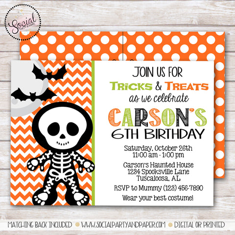 Halloween Skeleton Birthday Party Invitation