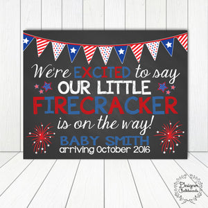 Firecracker Pregnancy Announcement Chalkboard Sign