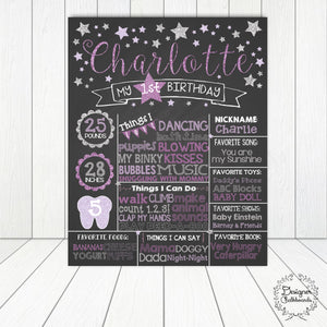 Stars Birthday Chalkboard Sign