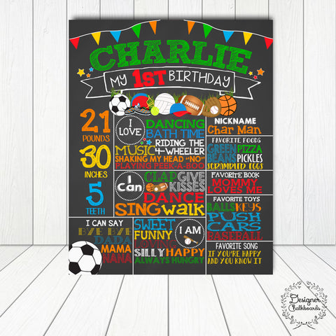 Sports Birthday Chalkboard Sign