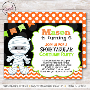 Halloween Mummy Birthday Party Invitation