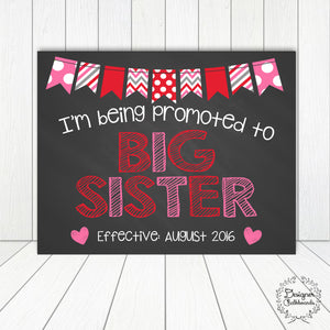 Big Sister Pregnancy Announcement Chalkboard Sign