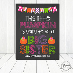 Halloween Big Sister Pregnancy Announcement Chalkboard Sign