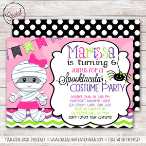 Halloween Mummy Girl Birthday Party Invitation