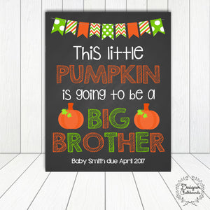 Halloween Big Brother Pregnancy Announcement Chalkboard Sign