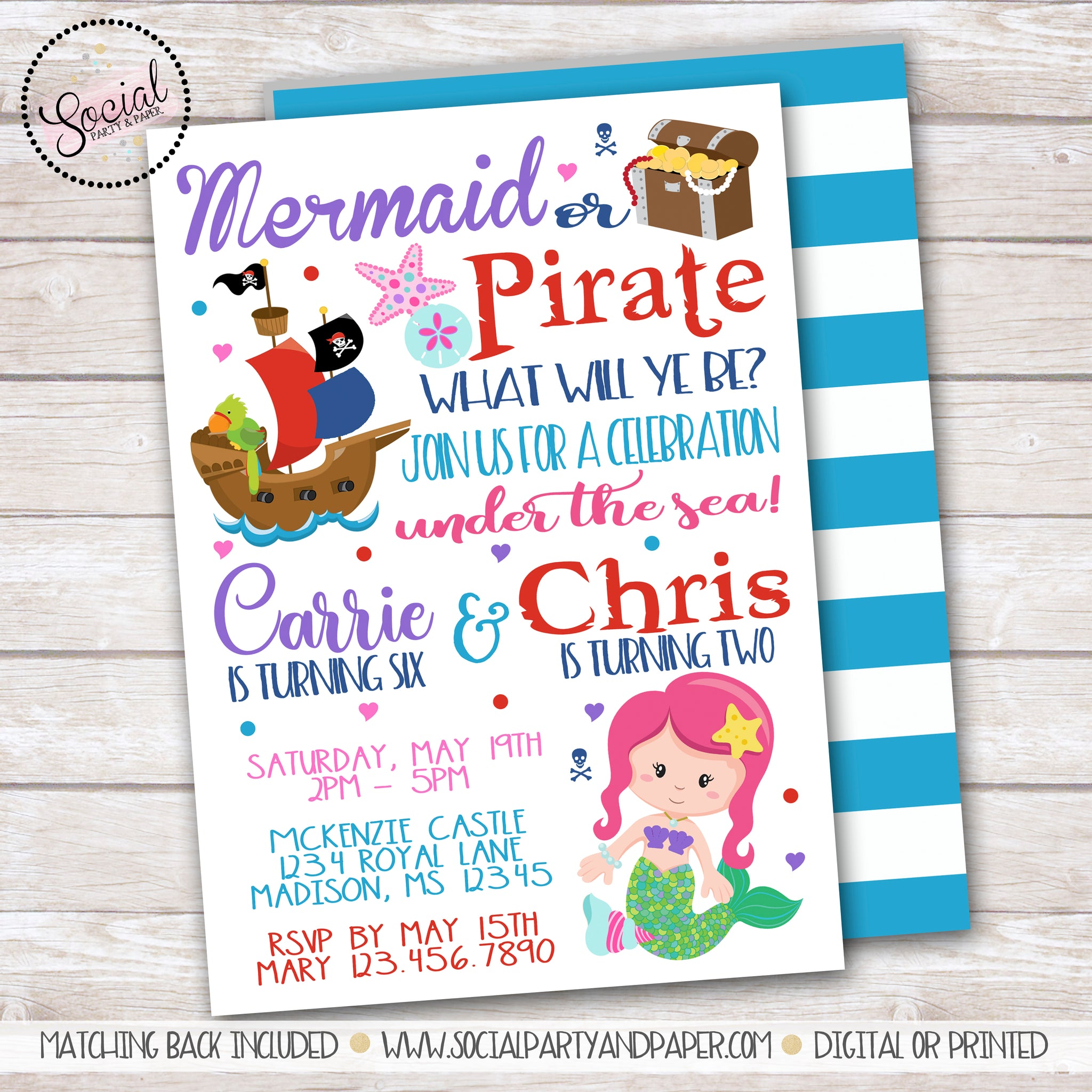 Mermaid and Pirate Birthday Party Invitation – Social Party & Paper