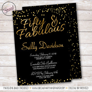 Black and Gold Confetti Birthday Party Invitation