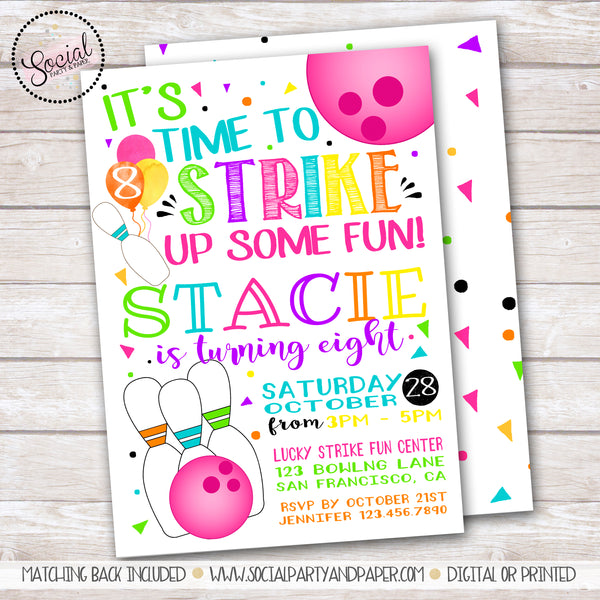 Bowling Watercolor Girl Birthday Party Invitation