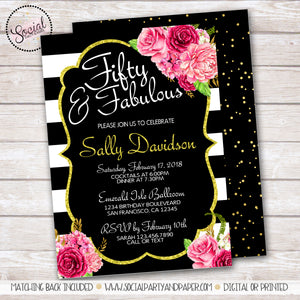 Boho Watercolor Gold and Flowers Birthday Party Invitation