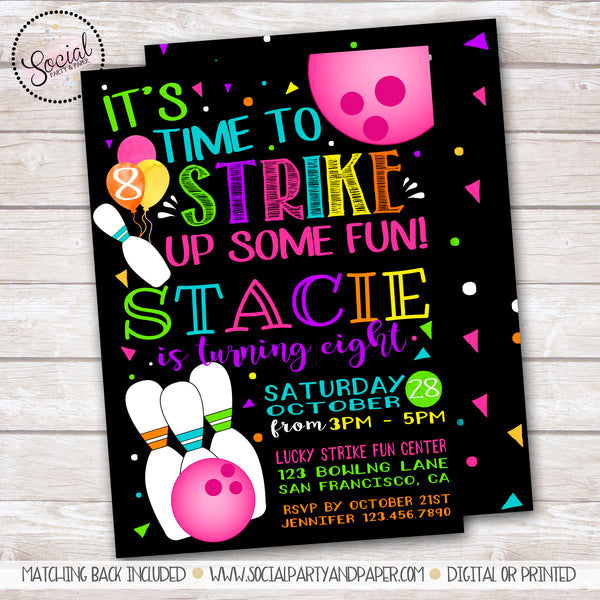 Cosmic Bowling Watercolor Girl Birthday Party Invitation