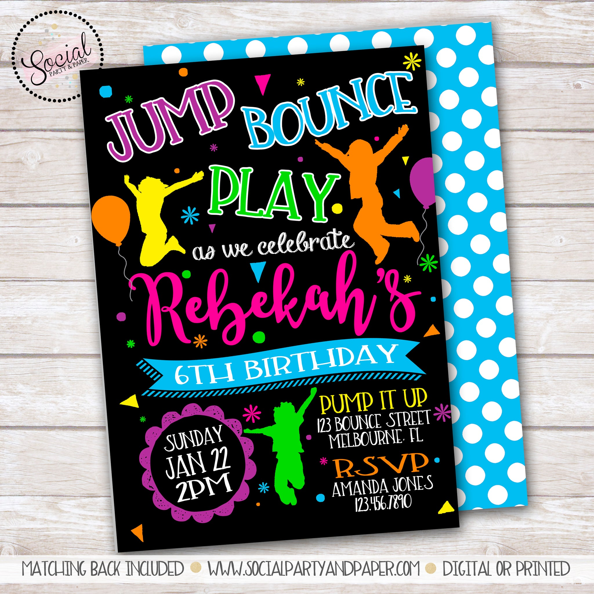 Jump and Bounce Birthday Party Invitation
