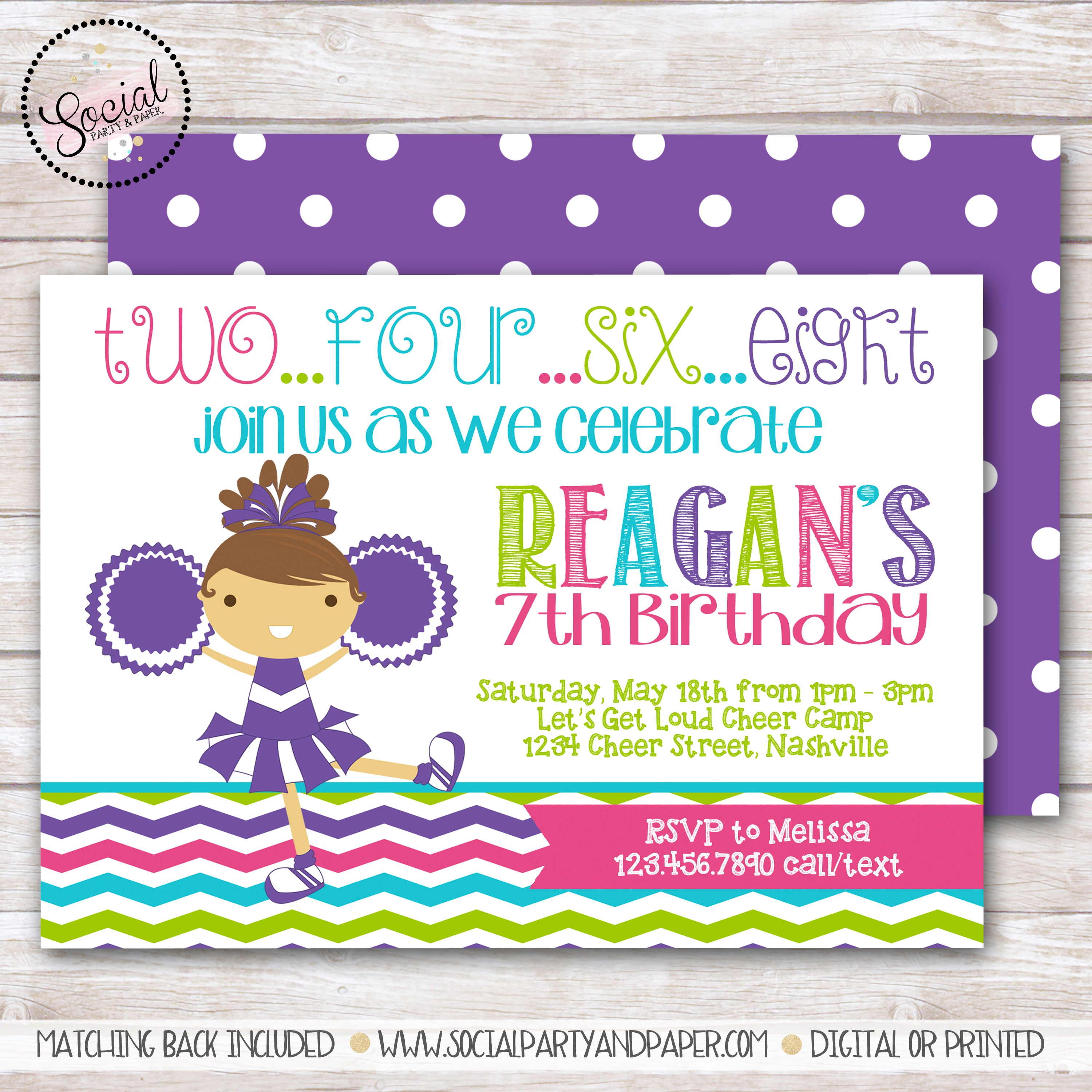 Cheerleader Girl Birthday Party Invitation Social Party Paper