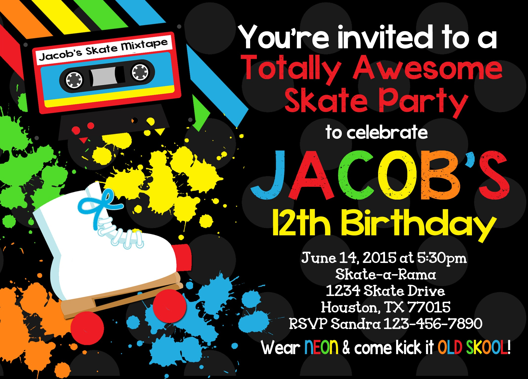 Retro Neon 80s Skate Boy Birthday Party Invitation
