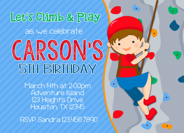 Rock Climbing Boy Birthday Party Invitation
