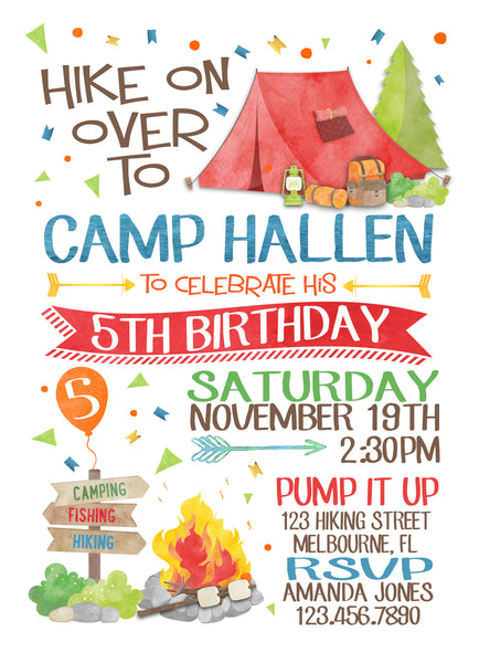 Camping Watercolor Boy Birthday Party Invitation