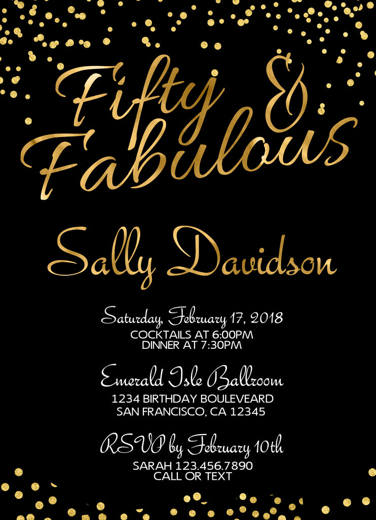 black and gold confetti birthday party invitation social party paper
