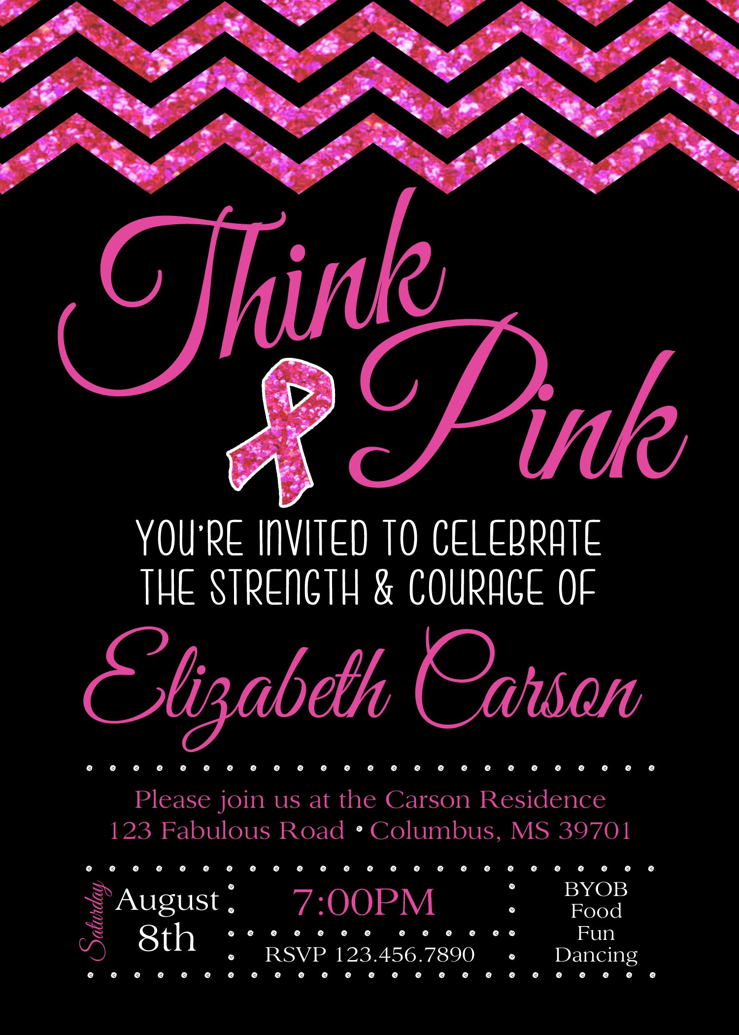 Breast Cancer Party Invitation – Social Party & Paper
