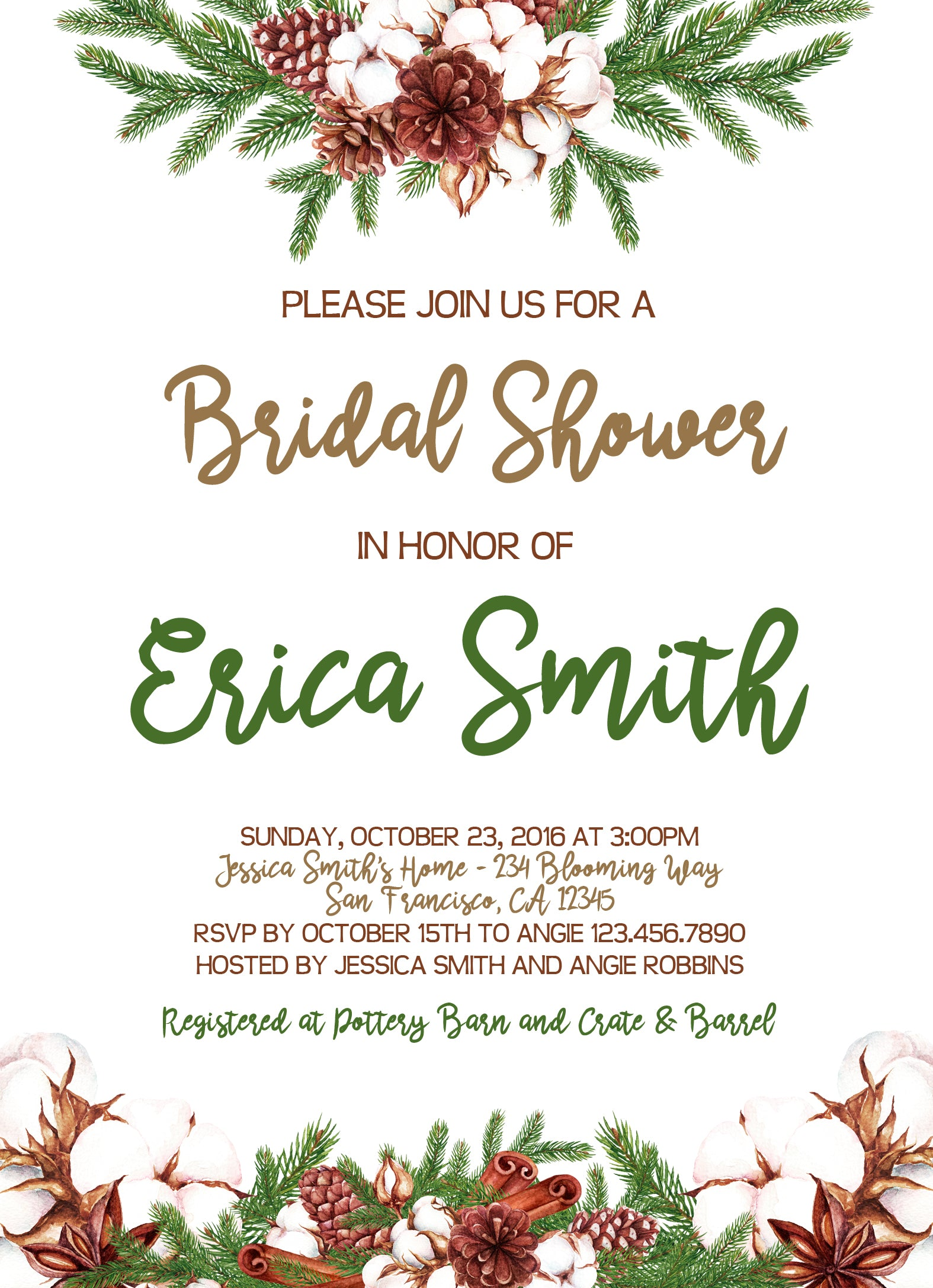 Boho Winter Cotton Wreath Bridal or Baby Shower Invitation